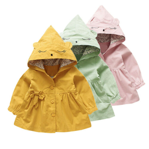 Toddler Kids Baby Girls Cute Cartoon Jacket Outerwear Ears Hoodie Clothes Coat