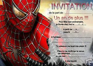 Detalles De 5 Ou 12 Cartes Invitation Anniversaire Spiderman Réf 265