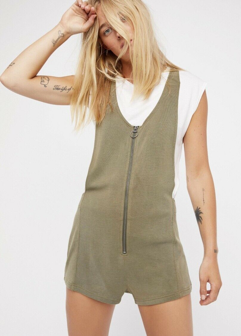 NEW FREE PEOPLE Sz S UNITED ONE PIECE ROMPER ZIP SHORT PLAYSUIT OLIVE GREEN  98