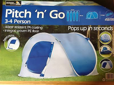 3 - 4 MAN PERSON POP UP TENT quick up PITCH GO CAMPING FESTIVAL  FISHING