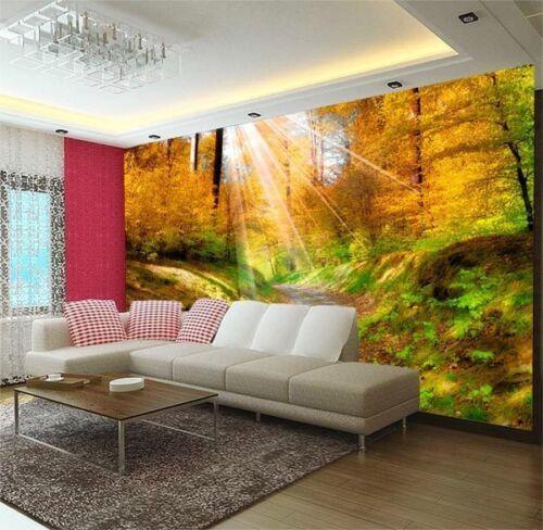 Sunlight Walkway Golden Forest 3D Full Wall Mural Photo Wallpaper Home Decal Kid