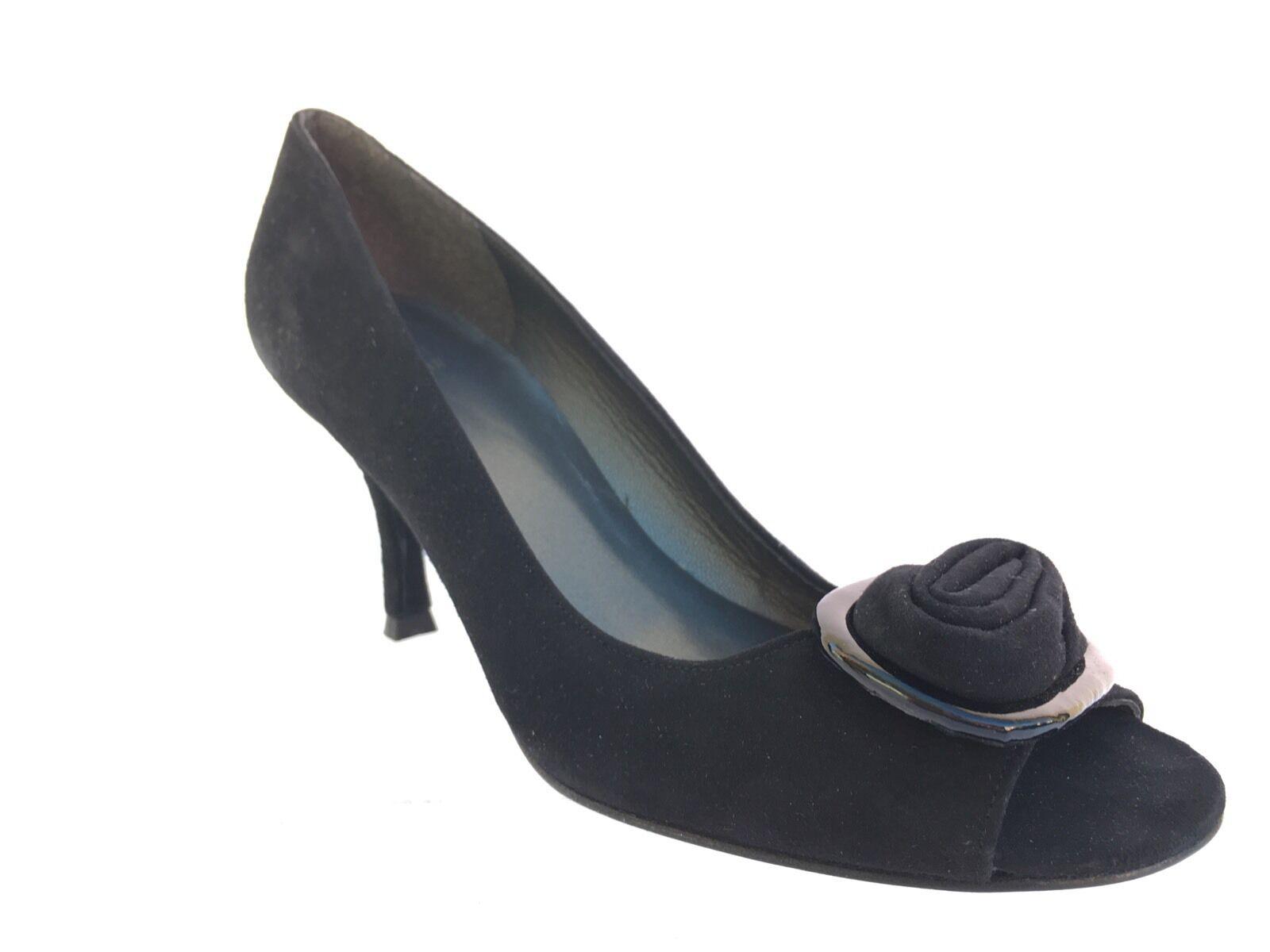 375 Stuart Weitzman  Ritzy  EN DAIM NOIR open-toe Rosette Chaussures Taille 8 M