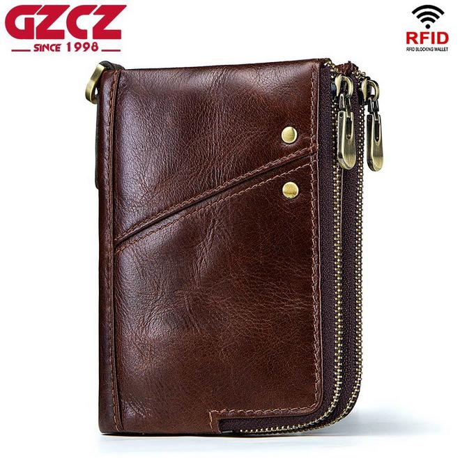 Men Genuine Leather Cowhide Wallet Credit Card RFID Holder Bifold Zipper Purse