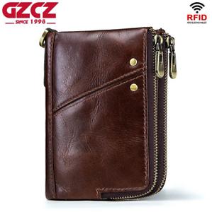 Men-Genuine-Leather-Cowhide-Wallet-Bifold-RFID-Credit-Card-Holder-Zipper-Purse