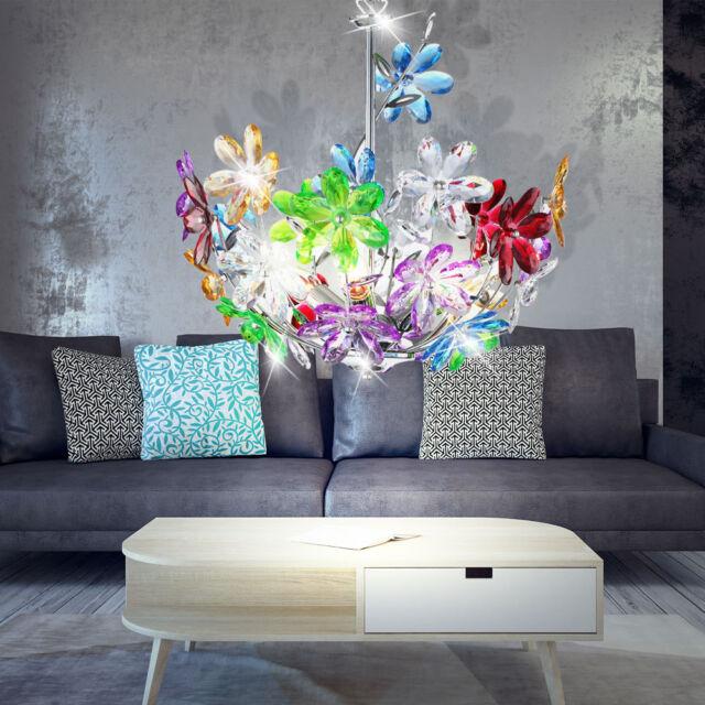 Plafond suspendu lampe fleurs florales coloré chrome salle à manger pendentif