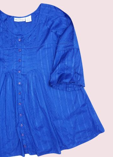 BLUE-SAPPHIRE Embroidered Bell Sleeve Blouse//tunic UK SIZES UK 18 to 28