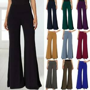 Women-039-s-Comfy-High-Waist-Yoga-Pants-Wide-Flared-Leg-Palazzo-Lounge-Trousers-O75