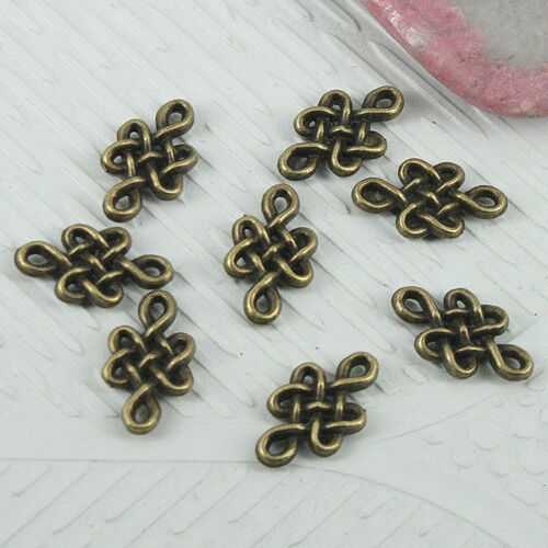 84pcs antiqued bronze 2sided Chinese knots design connector EF0801