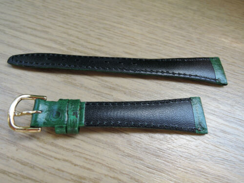 Leder Uhrenarmband grün 16mm  b132