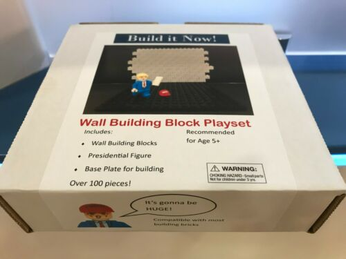 Build the Wall Now! Trump Block Playset & mini figure brick toy MAGA Legolike
