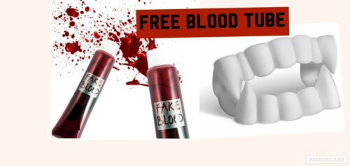 1 x Kids White Dracula Teeth Vampire Fake Fangs Fancy Dress New Kids /&FREE Blood