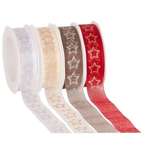 Organzaband mit Sternen Weihnachten Schleifenband rot oder creme