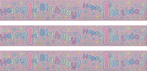 1ST BIRTHDAY// AGE 1 GIRL PINK WALL FOIL BANNERS EX