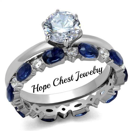 WOMEN/'S STAINLESS STEEL 1 CT ROUND BLUE /& WHITE CZ WEDDING RING SET SIZE 5-10