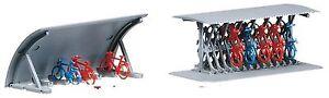 Faller-272535-Spur-N-2-Fahrradstaender-mit-Fahrraedern-Bausatz-Neu