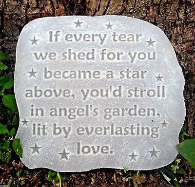 """Memorial plaque plastic mold plaster concrete mould /"""" If every tear we shed/"""""""