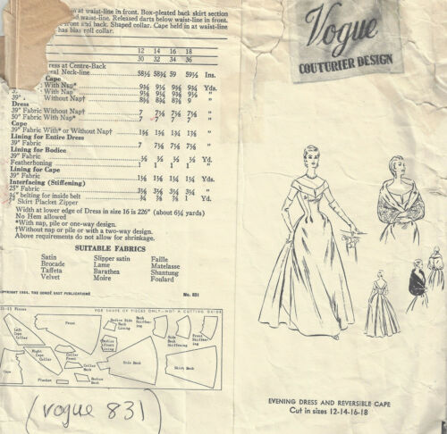 1750R 1954 Vintage VOGUE Sewing Pattern B32 DRESS EVENING DRESS CAPE