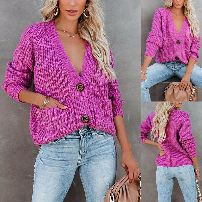 Womens Solid Color V Neck Single Breasted Knitted Sweater Cardigan Fashion Coats