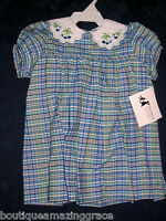 Therese Boutique Dress 12m Wooden Soldier Easter Blue Green Plaid