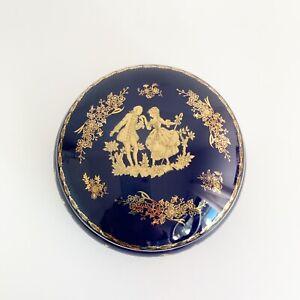LIMOGES-Cobalt-Blue-22K-Gold-Round-Trinket-Box-Courting-Couple-Porcelain-France