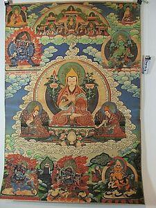 Ancienne Rare Dalaï-lama Verte Tara Mahakala Bouddha Thangka Soie Image Tibet 1970-afficher Le Titre D'origine