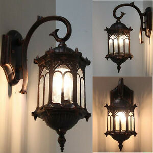 Image Is Loading LED Outdoor Garden Wall Light Lamp Post Lanterns