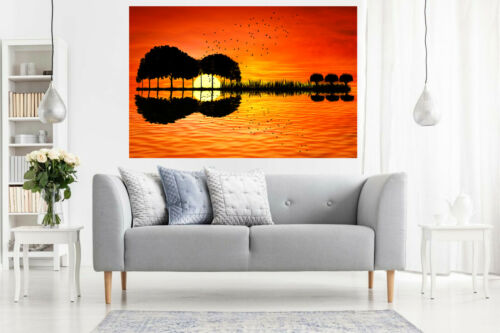 Guitar Island Sunset Seascape CANVAS WALL ART Picture Print