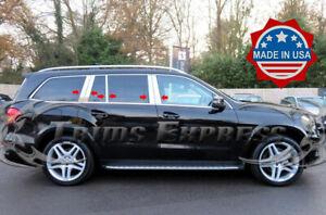 2013-2019-Mercedes-GL-GLS-GL350-GL450-GL550-10Pc-Chrome-Pillar-Post-X166-Trim