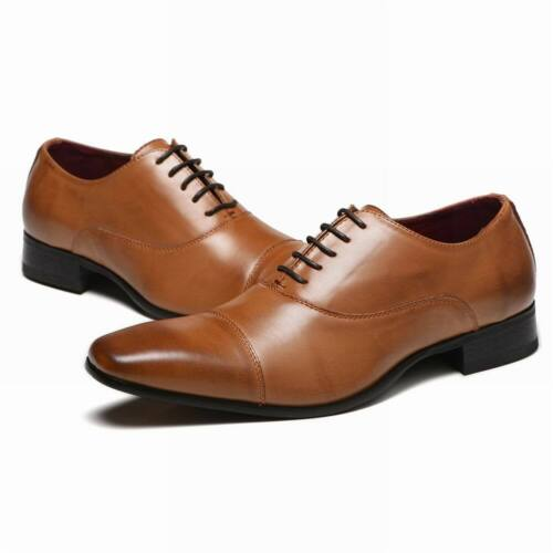New Lace Up Oxfords Mens Dress Tuxedo Formal Shoes Cap Toe Oxfords Leather Shoes