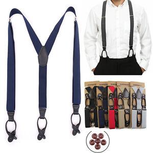 35mm Mens Adjustable Heavy Duty Trouser Belt Suspender Elastic PU Leather