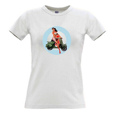 Scooter Ladies V-neck Tees Scooter Girl scootering retro skins mod vespa
