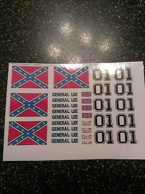 General Lee Decals 1:64 scale redline hot wheels 4 sets