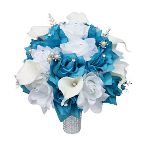 10-034-Wedding-Bouquet-Silver-White-and-Color-of-Your-Choice-Artificial-Flowers