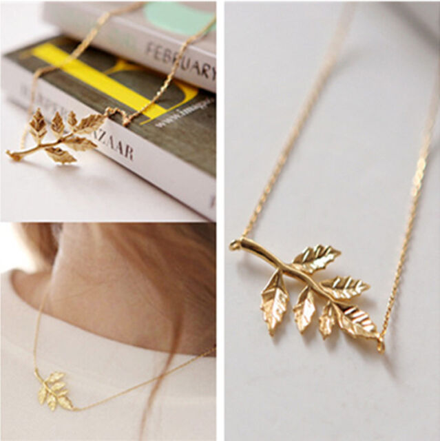 Celebrity Gold Leaves Pendant Charm Chain Necklace Womens Fashion Jewelry L7