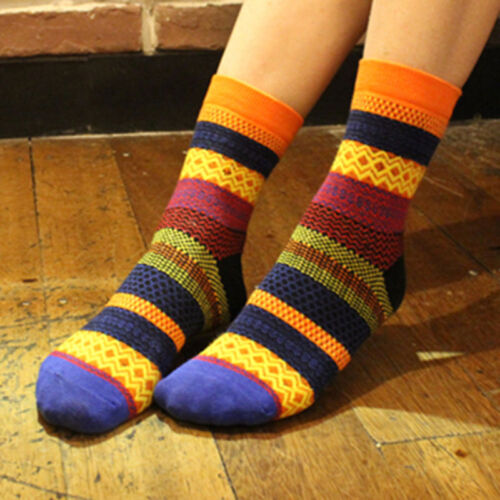 Fashion Warm Winter Unisex Women Men Stripe Cotton Crew Ankle Tube Dress Socks