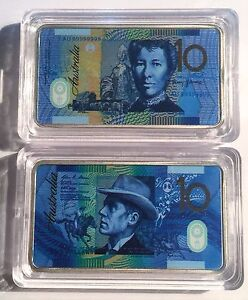 New-10-00-Australian-New-Note-1-oz-Ingot-999-Silver-Plated-Colour-Printed