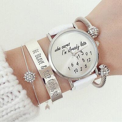 I'm already late women's men's Leather Fashion trendy newest White Wrist Watch