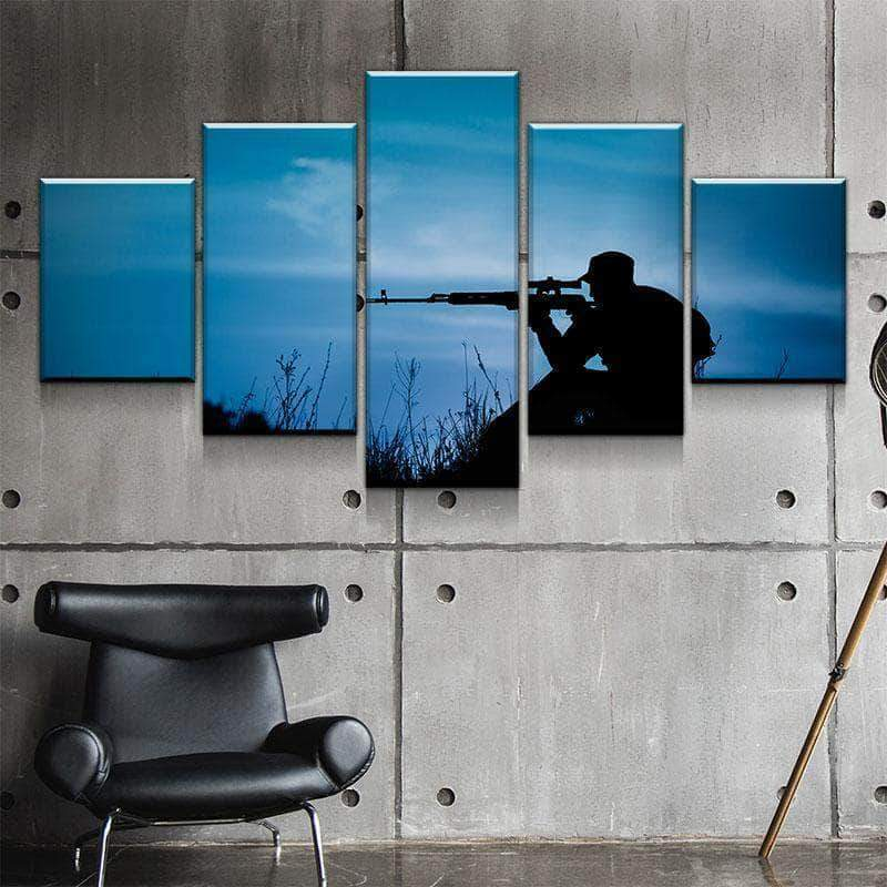 Nighttime Sniper 5 panel canvas Wall Art Home Decor Poster Print