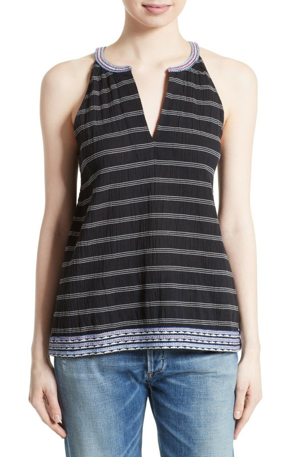 NWT- Soft Joie 'Heather' Embroiderot Sleeveless Top, Caviar Porcelain - Medium