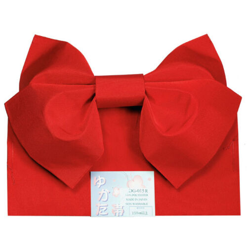 "Japanese 100/% Polyester 60/""L Kimono Yukata Butterfly Obi Belt RED Made in Japan"