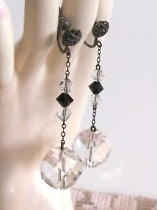 ART DECO ANTIQUE DANGLE DROP SCREW EARRINGS FACETED CRYSTAL GLASS CLEAR & BLACK