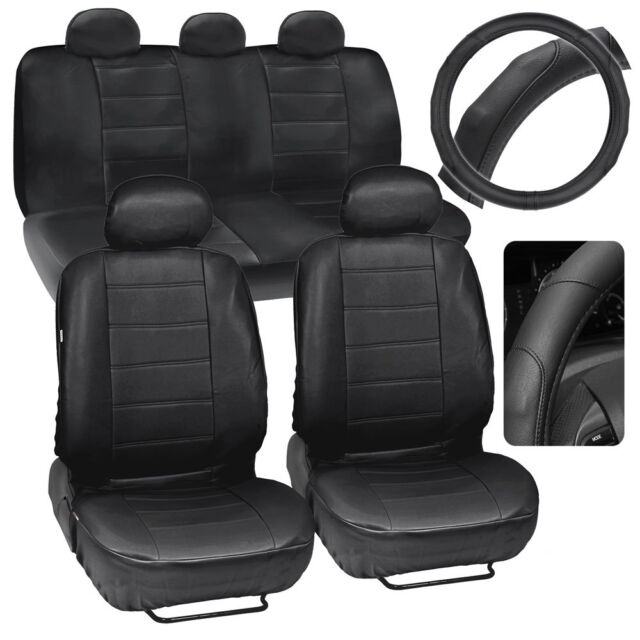 Car Seat Covers Steering Wheel Cover Comfy Faux Leather Solid Black