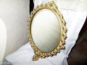 Ancien Miroir Sur Pieds En Laiton H.47cm