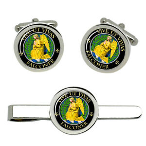 Falconer-Scottish-Clan-Cufflinks-and-Tie-Clip-Set