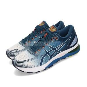 asics blanche bleu orange