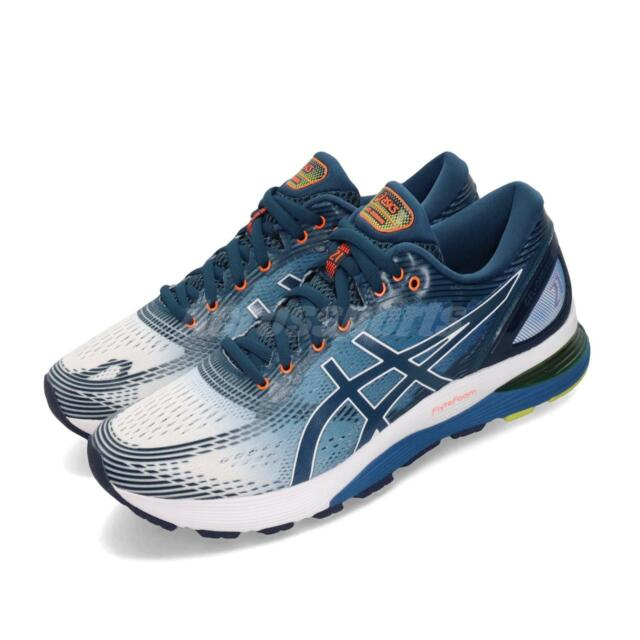 cheap for discount 43778 ce4f7 Asics Gel-Nimbus 21 White Blue Orange Men Running Shoes Sneakers  1011A714-100