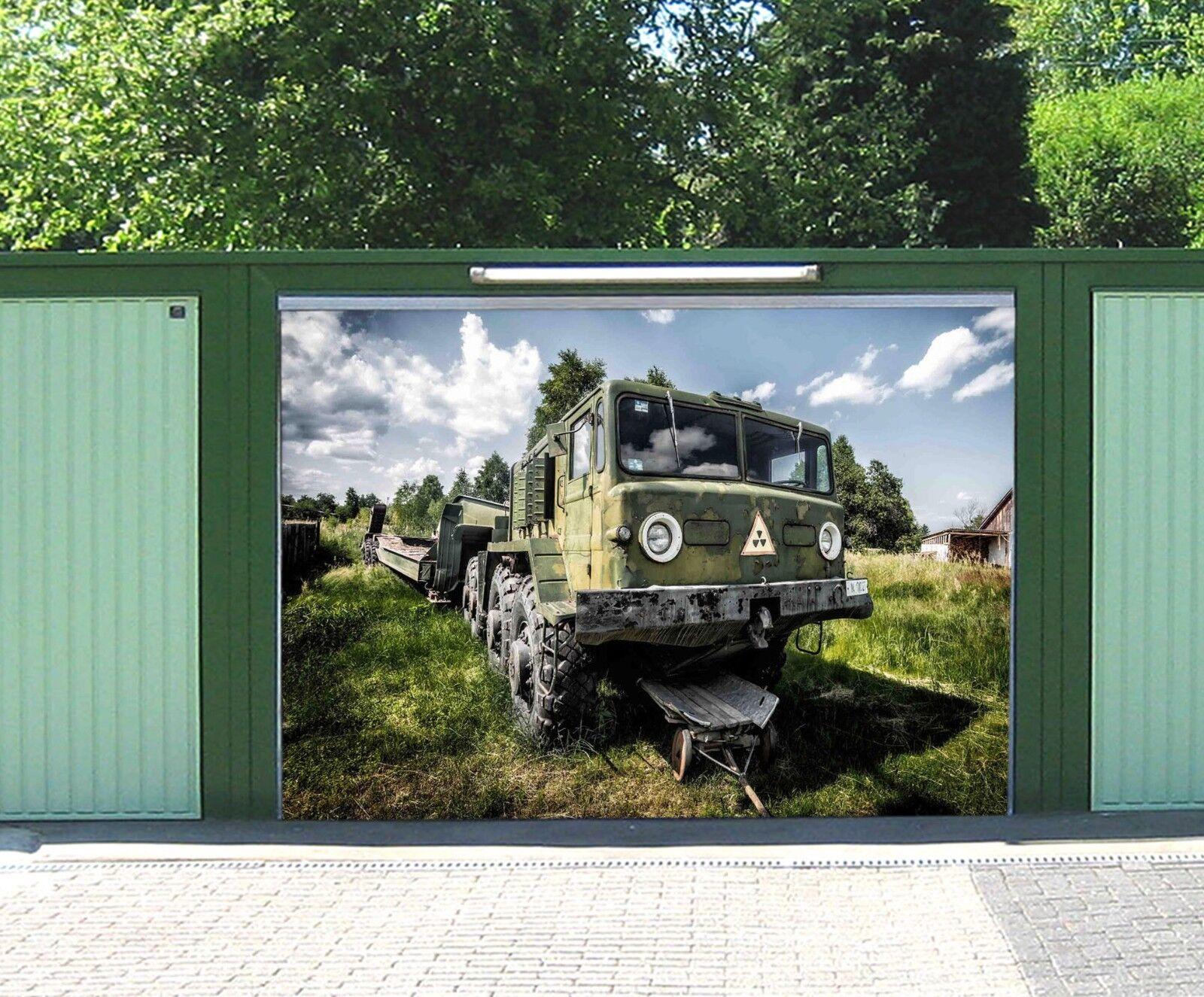 3D Trailer Grassland 56 Garage Door Murals Wall Print Wall AJ WALLPAPER UK Lemon