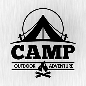 CAMP-Outdoor-Adventure-Camping-Camper-Schwarz-Auto-Vinyl-Decal-Sticker-Aufkleber