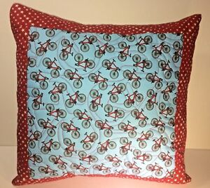 Bicycle-Quilted-Pillows-16-X-16-Set-of-2-Handmade-with-Inserts-Fairfield