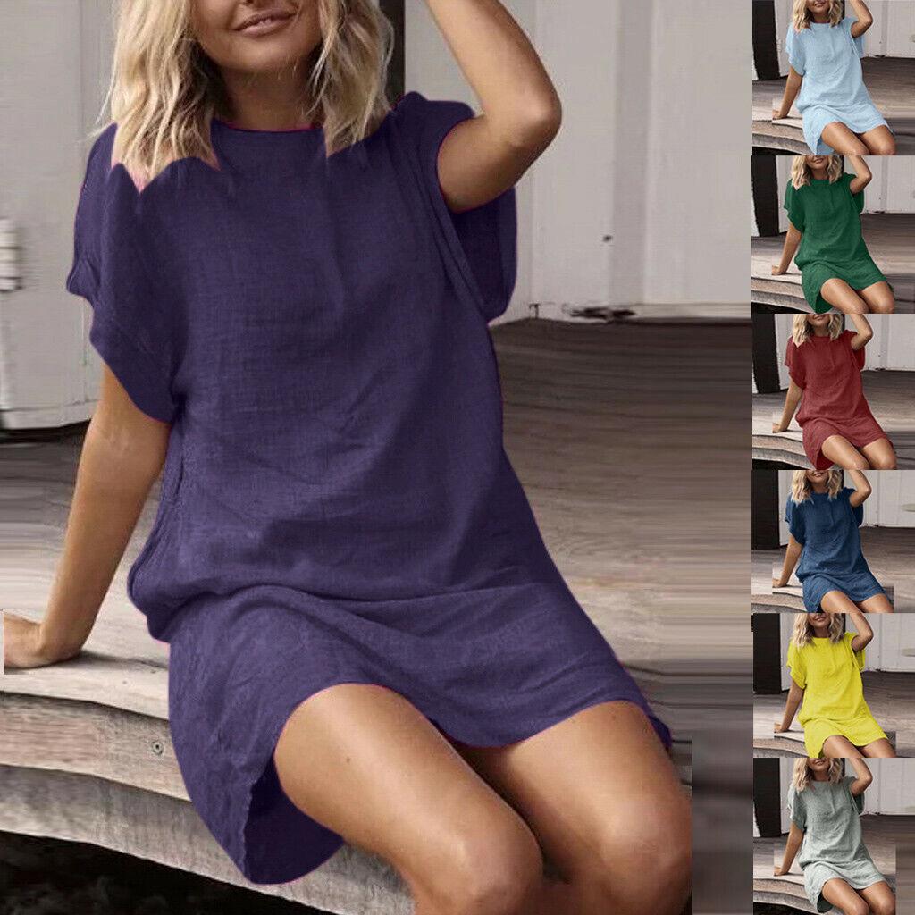 Fashion Women Summer Solid Short Sleeve Dress Crew Neck Linen Loose Dress HY